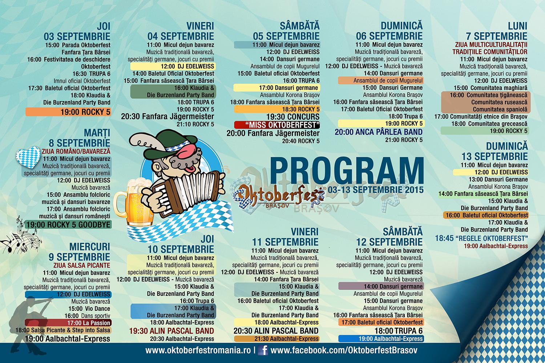 Program Oktoberfest Brasov 2015